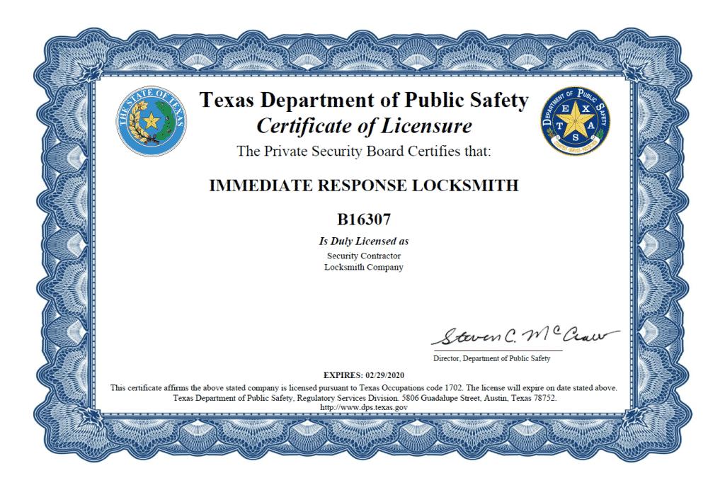 Locksmith Licensure - Immediate Response Locksmith San Antonio